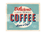 Vintage Sign - Fresh Brewed Coffee Lámina por Real Callahan