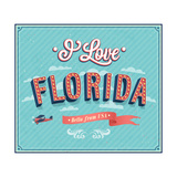 Vintage Greeting Card From Florida - Usa Prints by  MiloArt