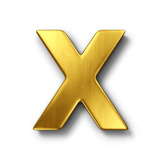 3D Rendering Of The Letter X In Gold Metal On A White Isolated Background Poster by  zentilia