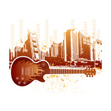 Urban Grunge City With Guitar Posters by  rodho
