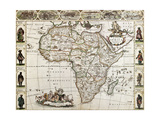 Africa Old Map. Created By Frederick De Wit, Published In Amsterdam, 1660 Plakater af marzolino