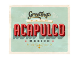Vintage Touristic Greeting Card - Acapulco, Mexico Art by Real Callahan