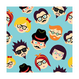 Colorful Vintage Hipsters Faces Seamless Pattern Posters by  cienpies