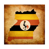 Map Outline Of Uganda With Flag Grunge Paper Effect Kunst af Veneratio