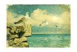 Seagulls In The Sky.Vintage Nature Seascape Background Affiches par  GeraKTV