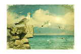 Seagulls In The Sky.Vintage Nature Seascape Background Prints by  GeraKTV