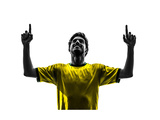 One Brazilian Soccer Football Player Young Man Happiness Joy Pointing Up In Silhouette Studio Prints by  OSTILL
