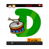 Letter D With Drum Cartoon Illustration Posters by Igor Zakowski