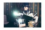 Portrait Of A Beautiful Steampunk Woman Over Vintage Background Arte por  prometeus
