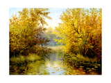 Autumn Wood Lake With Trees And Bushes Prints by  balaikin2009