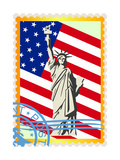 Postage Stamps With The Flag And The Statue Of Liberty Print by  GUARDING-OWO