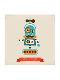 Hipster Robot Toy Icon And Illustration Posters by  Marish