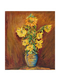 Colorful Sunflowers Bouquet On Brown Background Prints by  kirilstanchev
