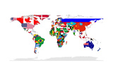 Map Of World With Flags In Relevant Countries, Isolated On White Background Reproduction giclée Premium par  Speedfighter
