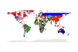 Karte von Welt mit Flaggen In Relevant Countries, Isolated On White Background Kunstdrucke von  Speedfighter