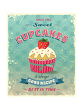 Illustration Of Vintage Cupcakes Sign Prints by  Catherinecml