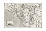 Old Map Of Montenegro. Created By Lejean, Published On Le Tour Du Monde, Paris, 1860 Print by  marzolino