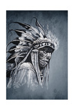 Native American Indian Head, Chief, Vintage Style Posters by  outsiderzone