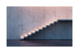 Modern Minimalism Style Stairs With Night Lighting Art by  auris