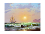 Oil Painting On Canvas , Sailboat Against A Background Of Sea Sunset Print by  Lilun
