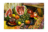 Fruit Still-Life With A Water-Melon And A Pomegranate Prints by  balaikin2009
