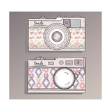 Retro Photo Cameras Set. Vintage Cameras With Ornaments Poster by cherry blossom girl