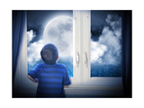 Boy Looking At Night Moon And Stars Posters by  Angela_Waye