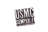 """The Phrase """"Usmc Semper Fi"""" In Letterpress Type. Slight Cross Processed, Narrow Focus Poster by  Space-Heater"""