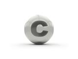 3D Alphabet, Spherical Letter C Isolated On White Background Prints by Andriy Zholudyev
