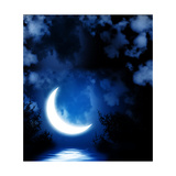 Night Fairy Tale - Bright Moon Reflected In Water Posters by  frenta