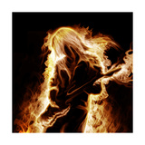 Musician With An Electronic Guitar Enveloped In Flames On A Black Background Prints by Sergey Nivens