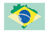 Outline Map Of Brasil With Transparent Brasilian Flag In Background Prints by  vepar5