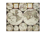 Old Double Emisphere Map Of The World Surrounded By Smallest Emispheric Projections Art by  marzolino