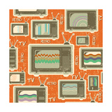 Tv Retro Seamless Pattern.Vintage Background On Old Texture Poster by  GeraKTV