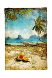Tropical Beach - Artwork In Painting Style Print by  Maugli-l