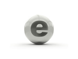 3D Alphabet, Spherical Letter E Isolated On White Background Posters by Andriy Zholudyev