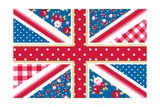 Cute British Flag In Shabby Chic Floral Style Prints by Alisa Foytik