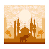 India Background,Elephant, Building And Palm Trees Prints by  JackyBrown