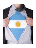 Business Man With Argentinian Flag T-Shirt Print by  IJdema