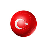 Soccer Football Ball With Turkey Flag Prints by  daboost