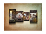 "The Word ""Love"". Random Letterpress Type On Grunge Background Poster by  Piko72"