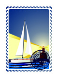 Postage Stamp. Yacht At Sea And The Lighthouse Posters by  GUARDING-OWO