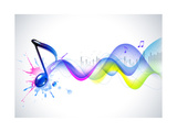 Note And Sound Waves. Music Background Posters by  Misha