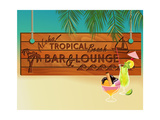 Tropical Beach Bar Wood Board Signpost, With Sandy Beach And Palm Tree Leaves In The Background Prints by  LanaN.