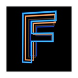 Glowing Letter F Isolated On Black Background Prints by Andriy Zholudyev