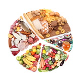 Food For A Balanced Diet In The Form Of Circle. Isolated On White Premium Giclée-tryk af  Volff