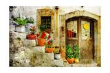 Pretty Village Greek Style - Artwork In Retro Style Posters af  Maugli-l