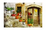Pretty Village Greek Style - Artwork In Retro Style Print by  Maugli-l