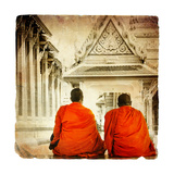 Two Monks In Thai Temple - Artistic Toned Picture In Retro Style Print by  Maugli-l