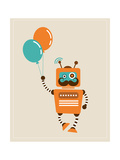 Hipster Vintage Robot With Balloons - Retro Style Card Print by  Marish